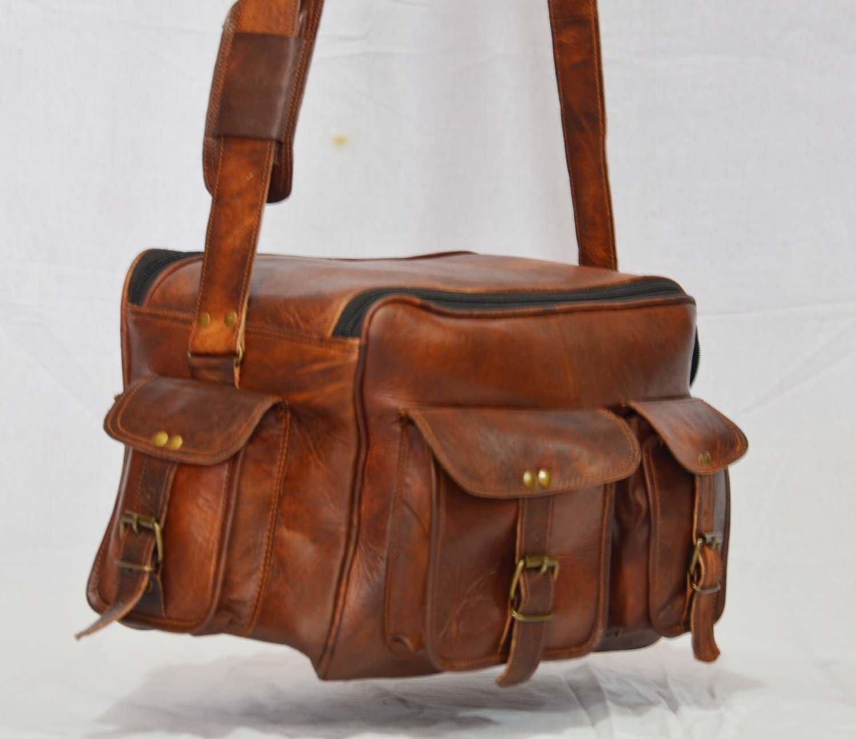 thehandicraftworld Real leather shoulder satchel vintage brown messenger camera mens bag briefcase