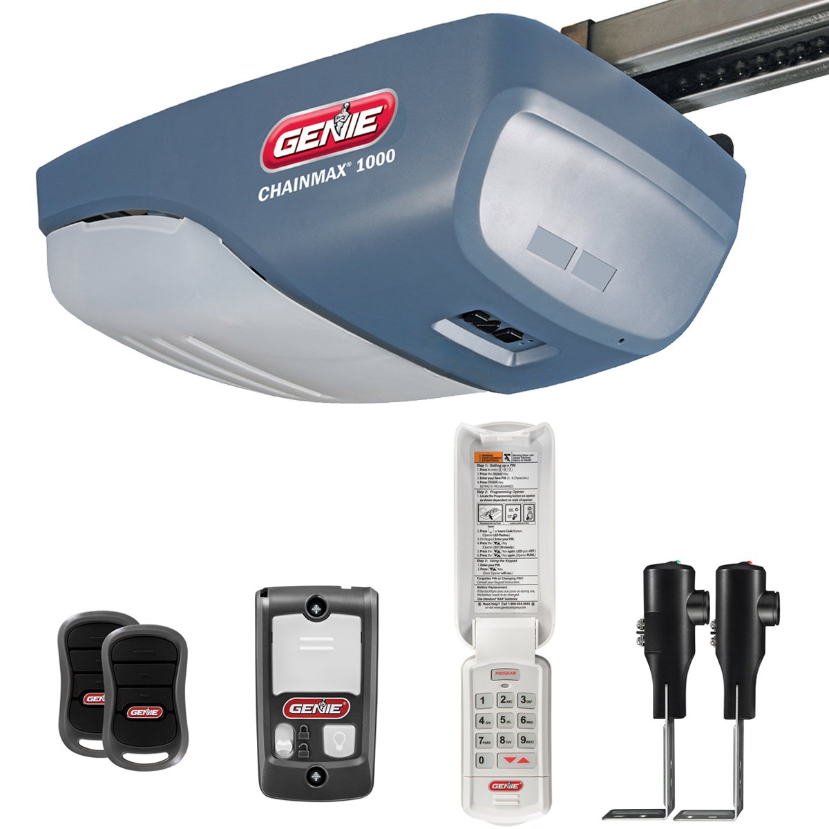 Genie chainmax 1000 garage door opener 34 hpc dc chain drive genie chainmax 1000 garage door opener 34 hpc dc chain drive opener with two 3 button pre programmed remotes wall console wireless keypad and rubansaba