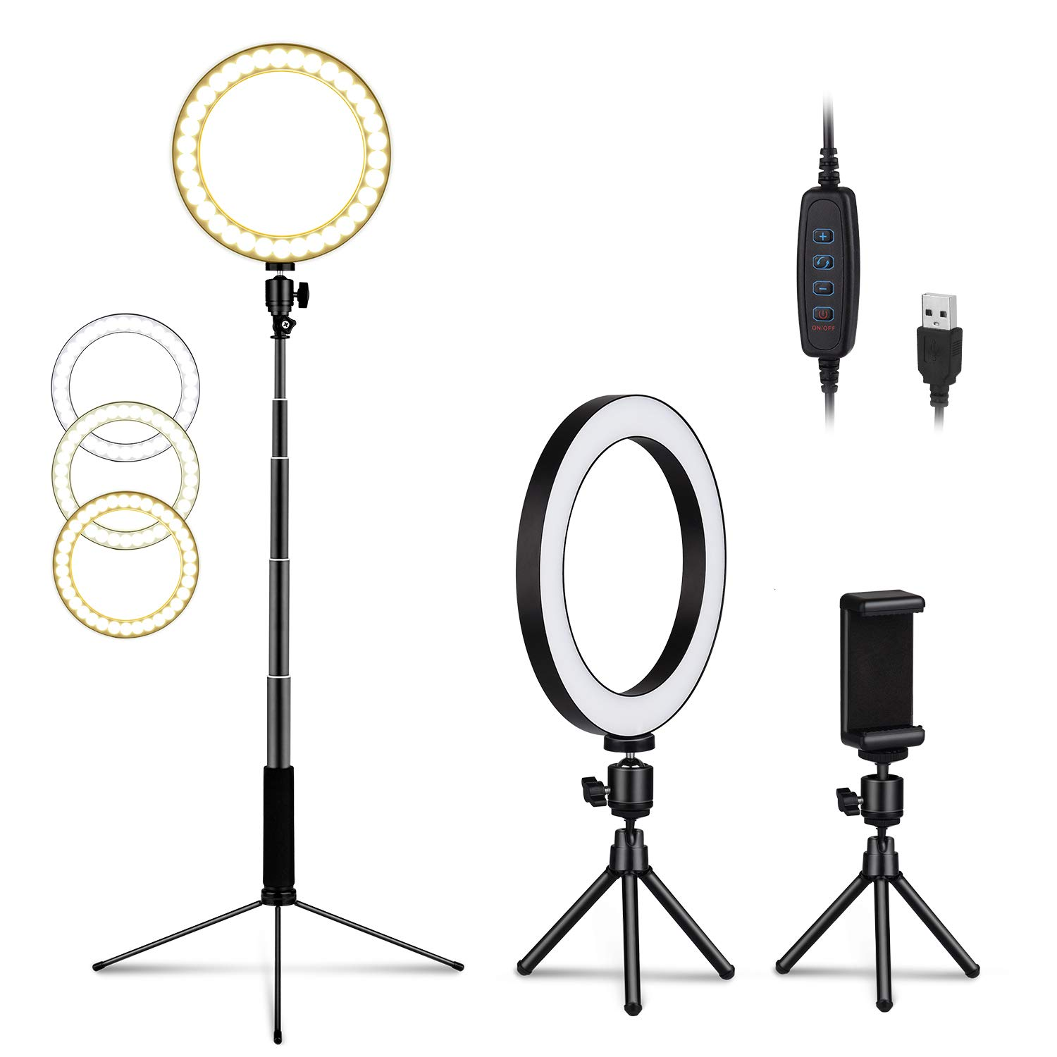 LEDGLE Upgraded Selfie Ring Light with Tripod Stand & Cell Phone Holder & Selfie Stick 8'' Dimmable Ring Light with 3 Light Mode and 10 Level Brightness for Live Stream Makeup and YouTube Video