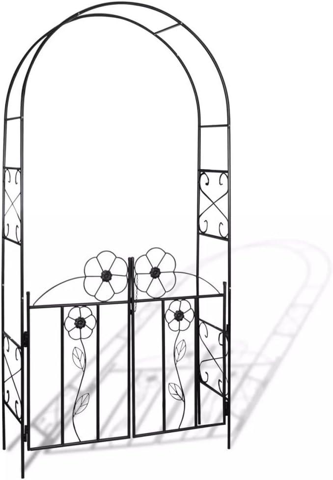 mewmewcat Arco de Jardin para Plantas Puerta de Jardín Arco para Rosas Arco de Flores para Jardín Patio Terraza Hierro Negro 115x37x230cm