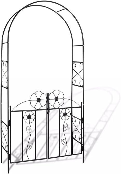 mewmewcat Arco de Jardin para Plantas Puerta de Jardín Arco para Rosas Arco de Flores para Jardín Patio Terraza Hierro Negro 115x37x230cm: Amazon.es: Deportes y aire libre