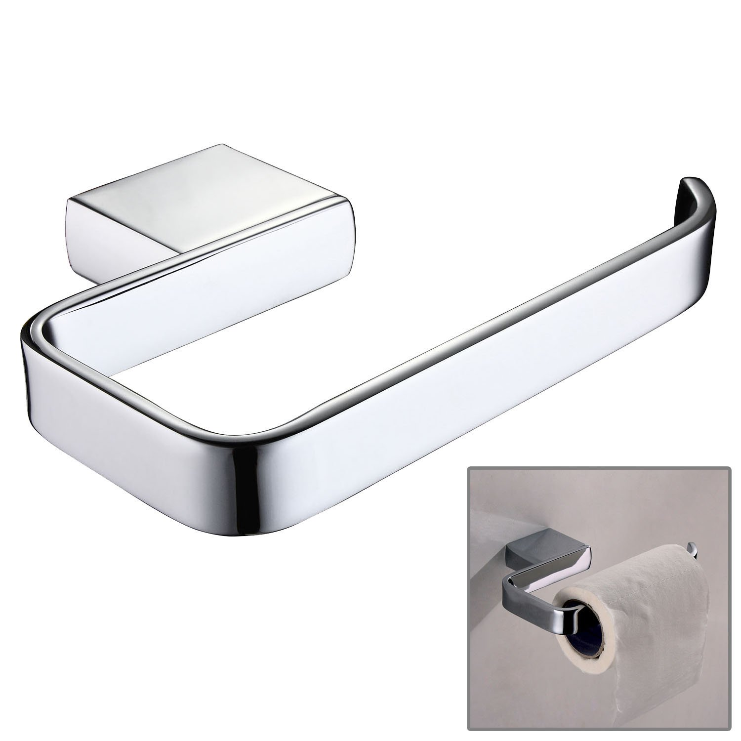ThinkTop Luxury Brass Toilet Tissue Paper Holder Roll Roller Hanging Wall Mounted Bathroom Accessories, Chrome finished