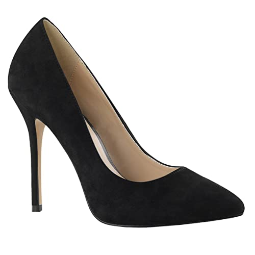 959c23cf9e5 Amazon.com | Womens Black Suede Pumps Pointed Toe Shoes Classic High ...