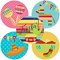 Fiesta Party Sticker Labels - Cinco De Mayo Festival Envelope Seals and Favor Stickers - Set of 50