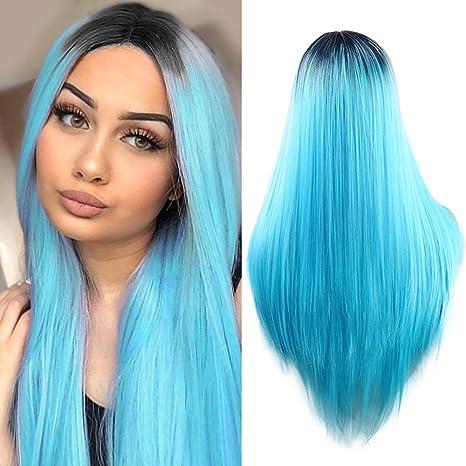 Mode bleu perruque droite mode 2 ton ombre