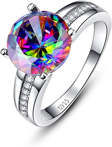 9 Elegant 925 Sterling Silver Rainbow Mystical Topaz White Topaz Ring Size