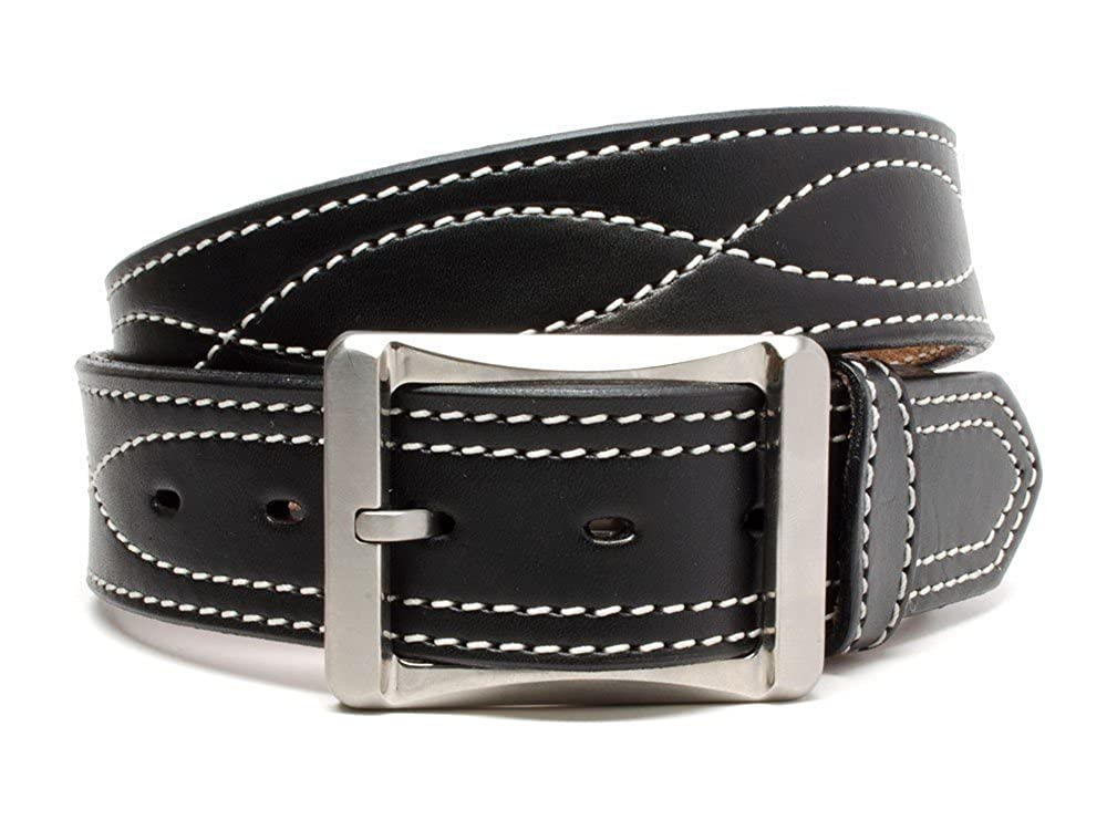 Whitewater Belt Nickel Smart Black Genuine Top Grain Leather Belt with White Stitching /& Nickel Free Titanium Buckle