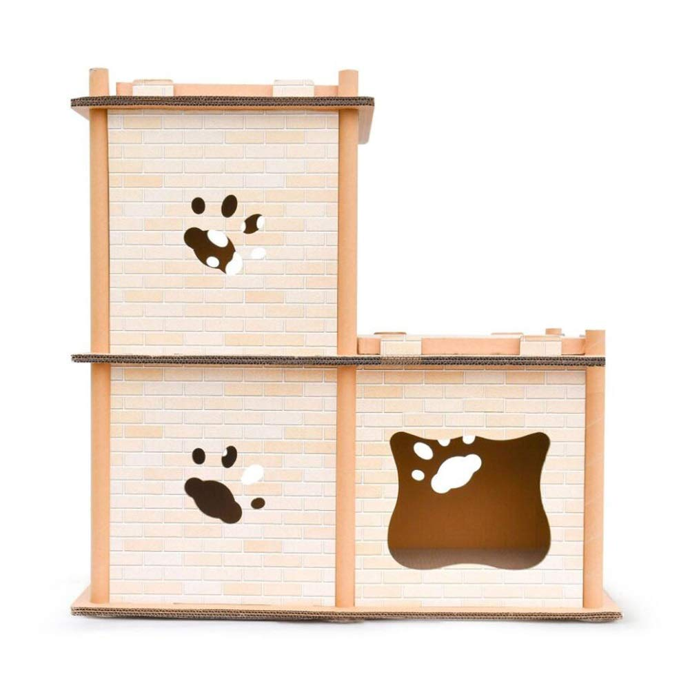 2 layers LSS DIY Cat House Combination, Cat Scratch Board, Versatile Shape Corrugated Paper Ladder Two-Layer, Three-Layer, Multiple Choice (Size   2 Layers)