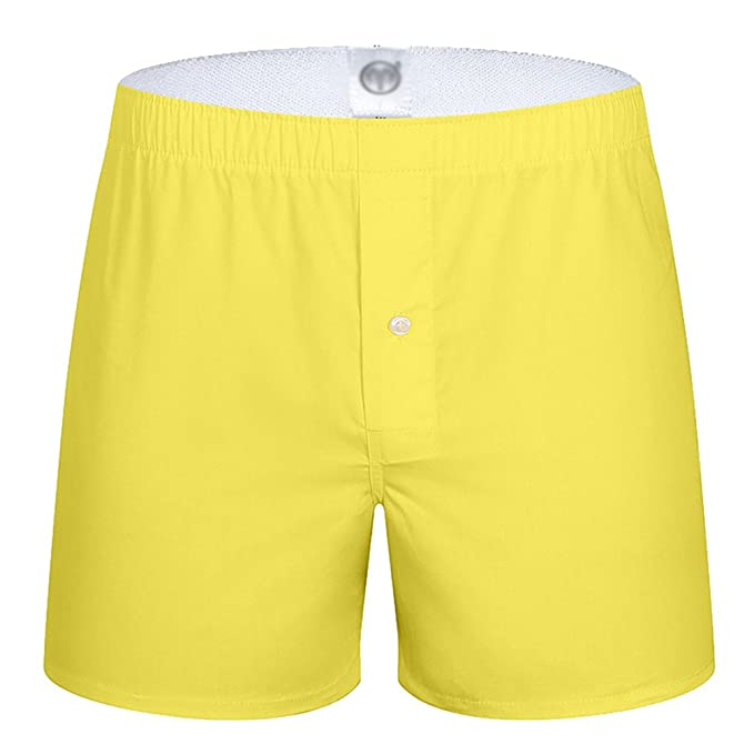 Yuanu Hombre Pantalones de Pijama Algodón Shorts Ropa de Dormir Pantalón Corto Amarillo M
