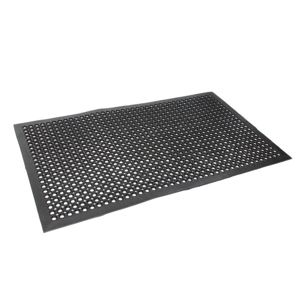 ROVSUN Anti- Fatigue Drainage Mat, 60'' Heavy Duty Molded Rubber, Non-Slip Hexagonal Holes, Waterway for Wet Floor of Kitchen/Bar/Industrial/Indoor/Outdoor/Garden, Black PVC Drain Mats