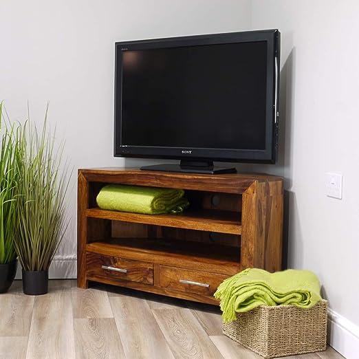 Mueble esquinero de TV Indiana de Madera de Palisandro Maciza | Soporte de TV de Madera Oscura: Amazon.es: Hogar