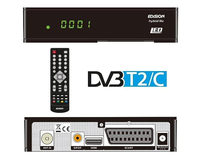 Edision Progressiv Hybrid Lite - Receptor LED de DVB-T/cable/digital terrestre y TDT (Full HD, HDMI, SCART, S/PDIF, USB, WiFi, Internet, pantalla), ...