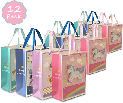 Little Unicorn Deams Handle Pink Paper Party Loot Bags Goodie Favour Gift Bag