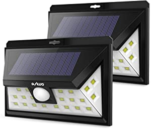 ASIWO Solar Lights Outdoor 24LED Motion Sensor Light with 270° Wide Angle IP65 Waterproof Extra Bright Easy-to-Install Security Lights for Outside Garden Yard Garage Deck Porch(2 Pack)