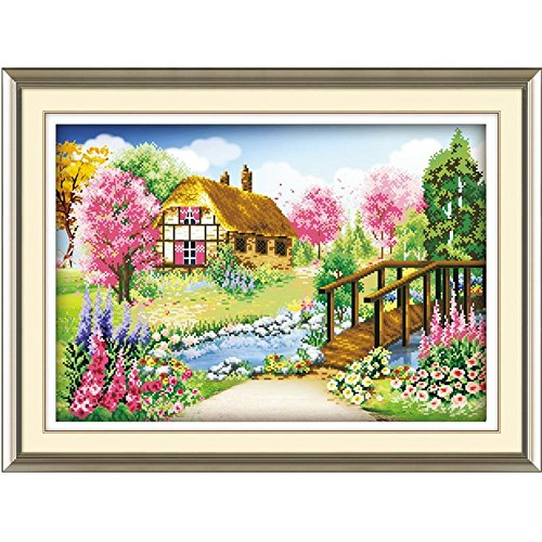 Unpre(TM)Hot DIY 5D Acrylic Rhinestone Decorative Painting Diamond Embroidery Spring Landscape Needlework 35cm*52cm 1Set
