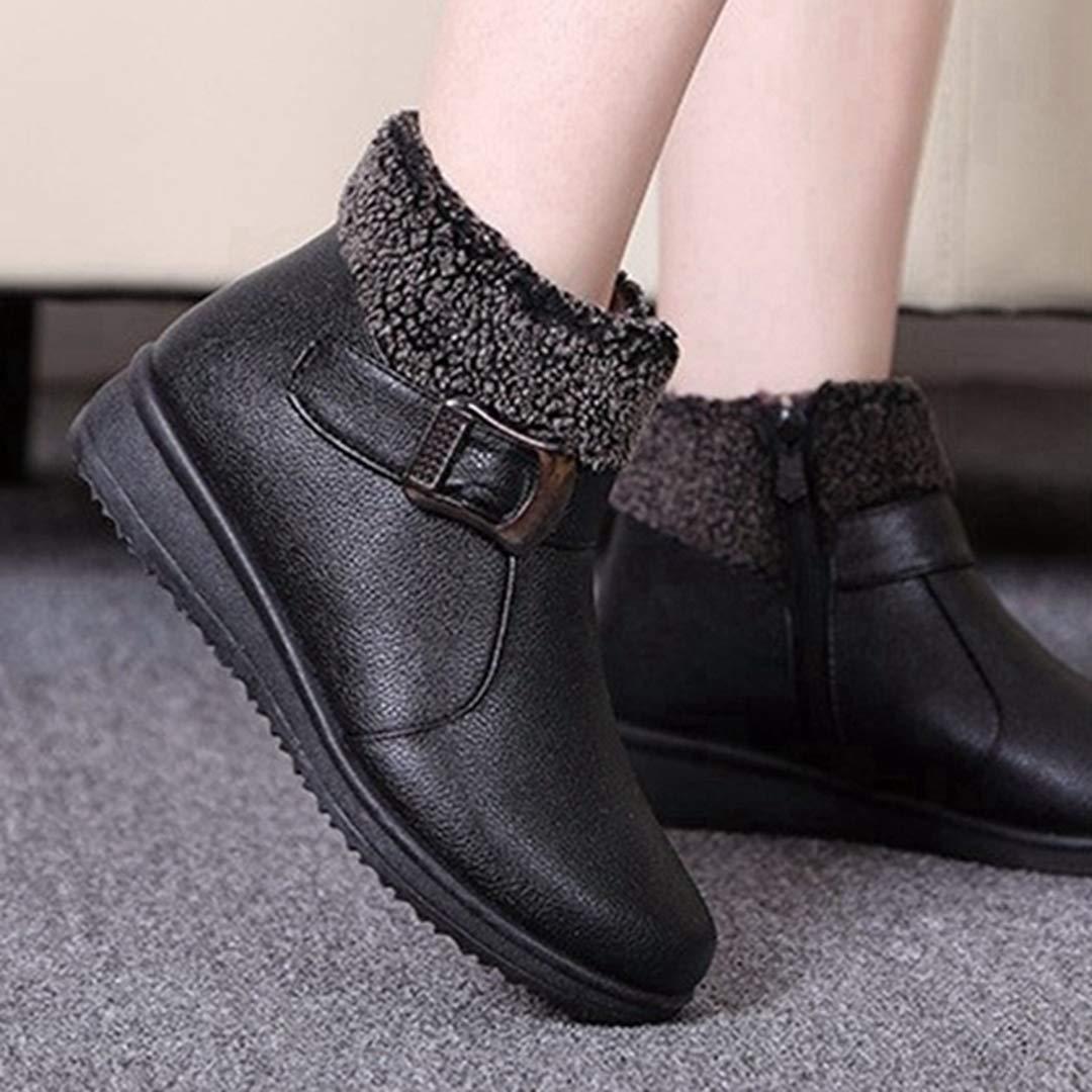 Stiefeletten für Frauen Runde Zehe Plüsch Warmes Warmes Warmes Leder Schwarz Braun Kurze Stiefel 9912d1
