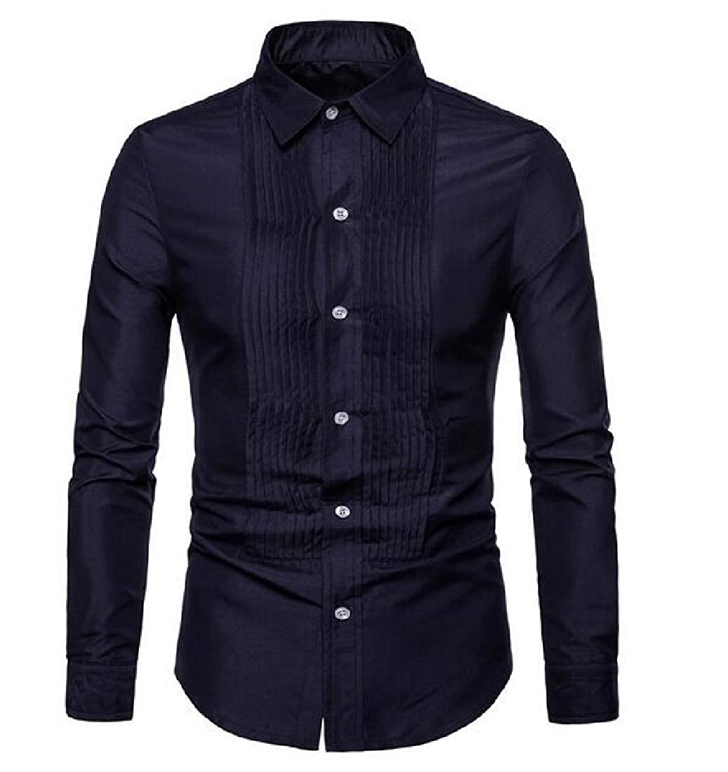 YUNY Mens Turn-Down Collar Long Sleeve Buttoned Solid Colored Work Shirt Navy Blue XS