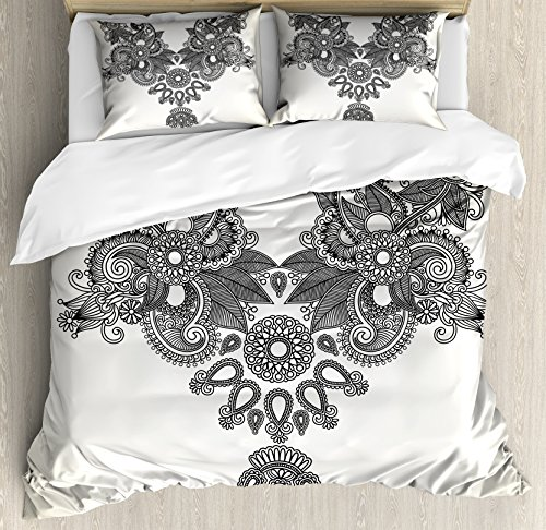 Far Eastern Decor (Henna Duvet Cover Set King Size by Ambesonne, Far Eastern Vintage Fashion Ornamental Paisley Abstract Artwork with Oriental Effect, Decorative 3 Piece Bedding Set with 2 Pillow Shams, Cream Black)