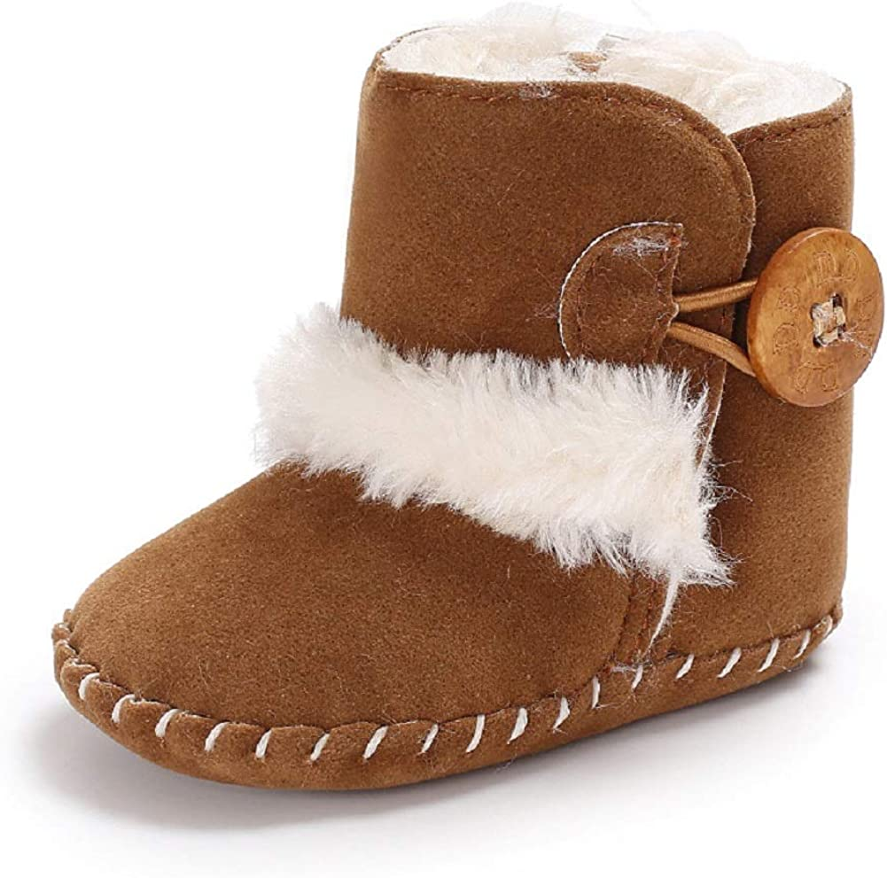 Dejian Newborn Baby Boys Girls Fleece Fur Knit Winter Warm Snow Boots Soft Sole Prewalker Non-Skid Boots for Infant Toddler