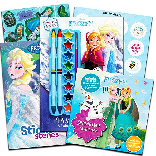 Deluxe Poster Paint - Disney Frozen Sticker Book Super Set -- 3 Deluxe Frozen Sticker Activity Books with Paint, Crayons and Poster (Collection)