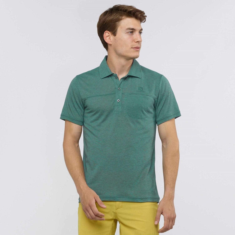 SALOMON Explore Polo M Camiseta Polo con Bolsillo Funcional Hombre