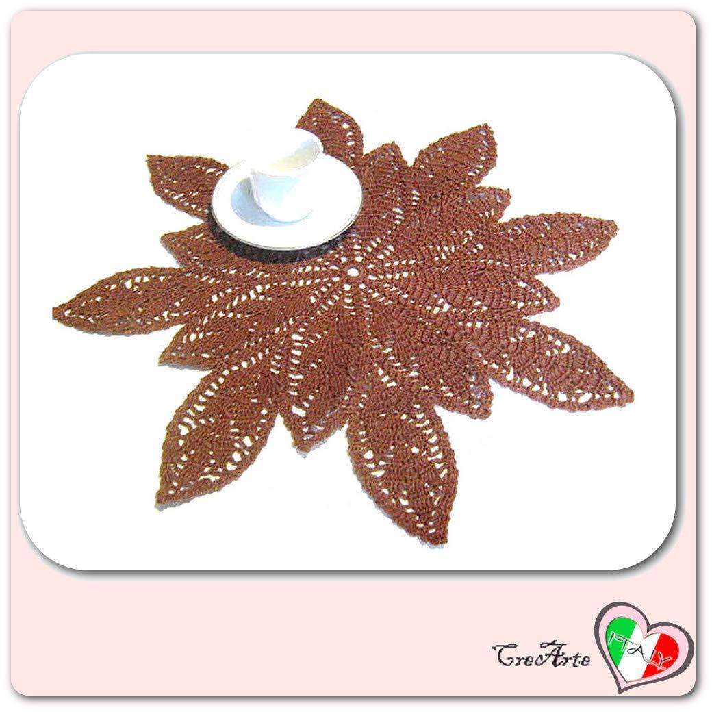 Tapete de ganchillo marrón con hojas en algodón - Tamaño: ø 46.5 ...