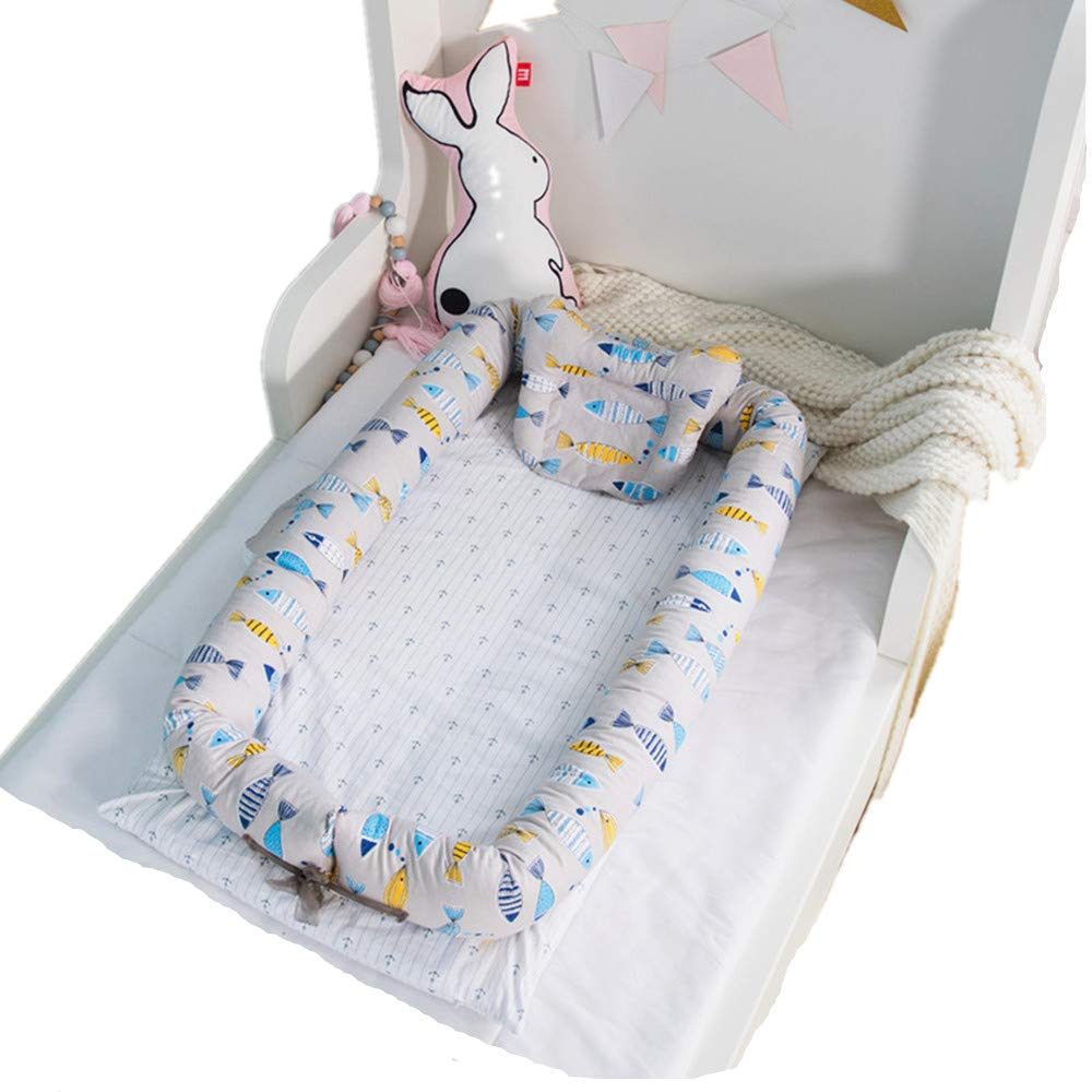 Abreeze Baby Bassinet for Bed -Fish Printed Baby Lounger - Breathable & Hypoallergenic Co-Sleeping Baby Bed - 100% Cotton Portable Crib for Bedroom/Travel