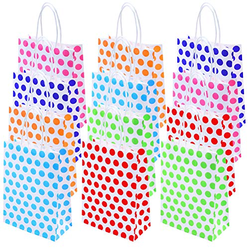 Coobey 30 Pieces Dot Gift Bags Paper Party Packs Gift Bags Birthday Kraft Bag with Handle for Birthday, Tea Party, Wedding, Party - Birthday Dots