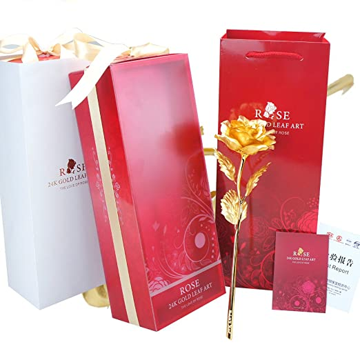 24 K dorado rosa, meiwo oro de tallo largo de flores con ...