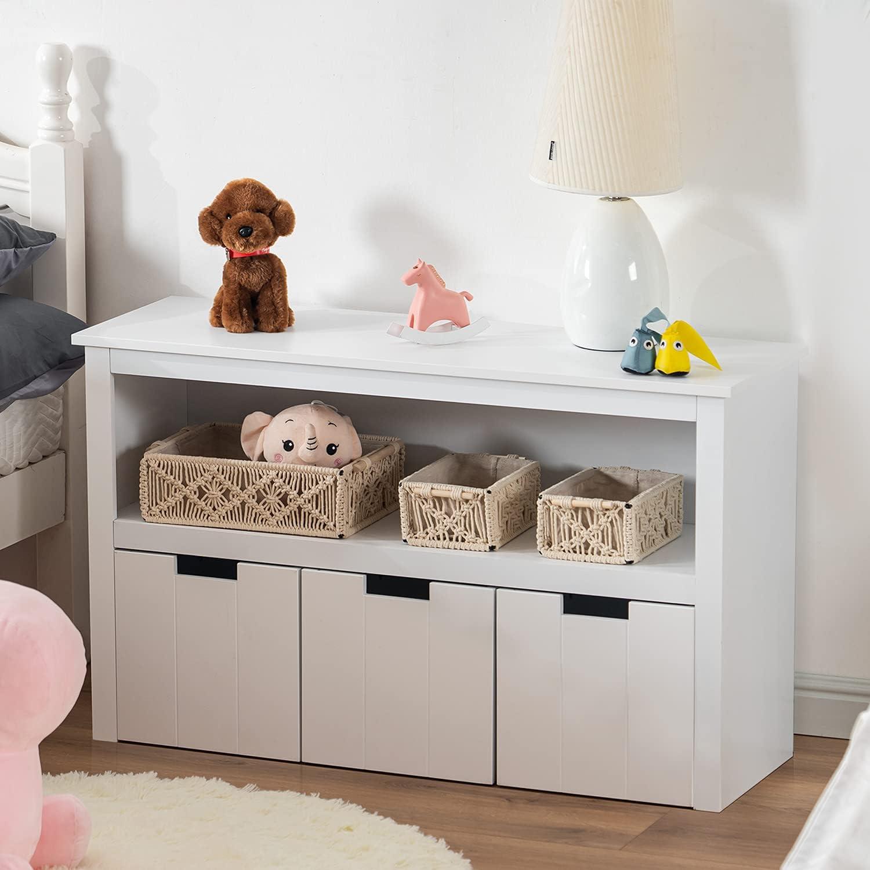 APICIZON Kids Toy Storage Organizer with Bookshelf, Play Room Storage Cabinet with Wheels and Large Storage Drawers for Children, White