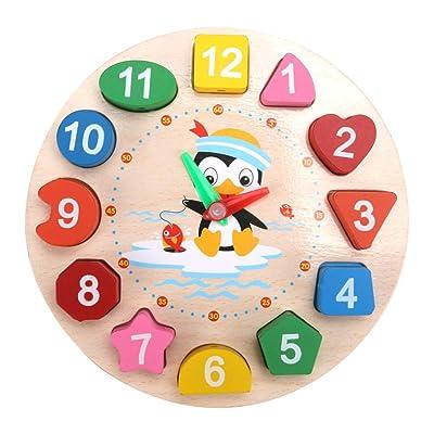 Eugeneq Digital Clock Geometry Blocks Wooden Cartoon Penguin Teaching Time Number Toy for Kids: Garden & Outdoor