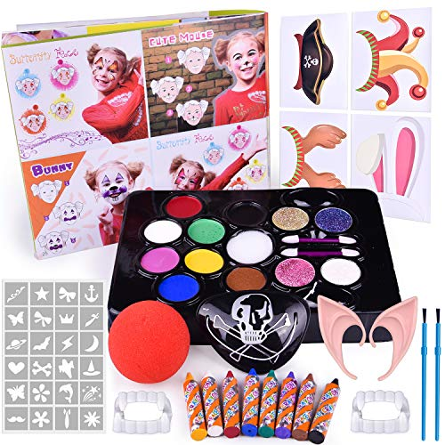 60 PCs Face Painting Kits for Kids, Kids Make Up Kit with Water Based Paints, Glitters, Stencils, Crayons, Make Up Tools, Pretend Play Accessories, Instruction Book, Safe & -