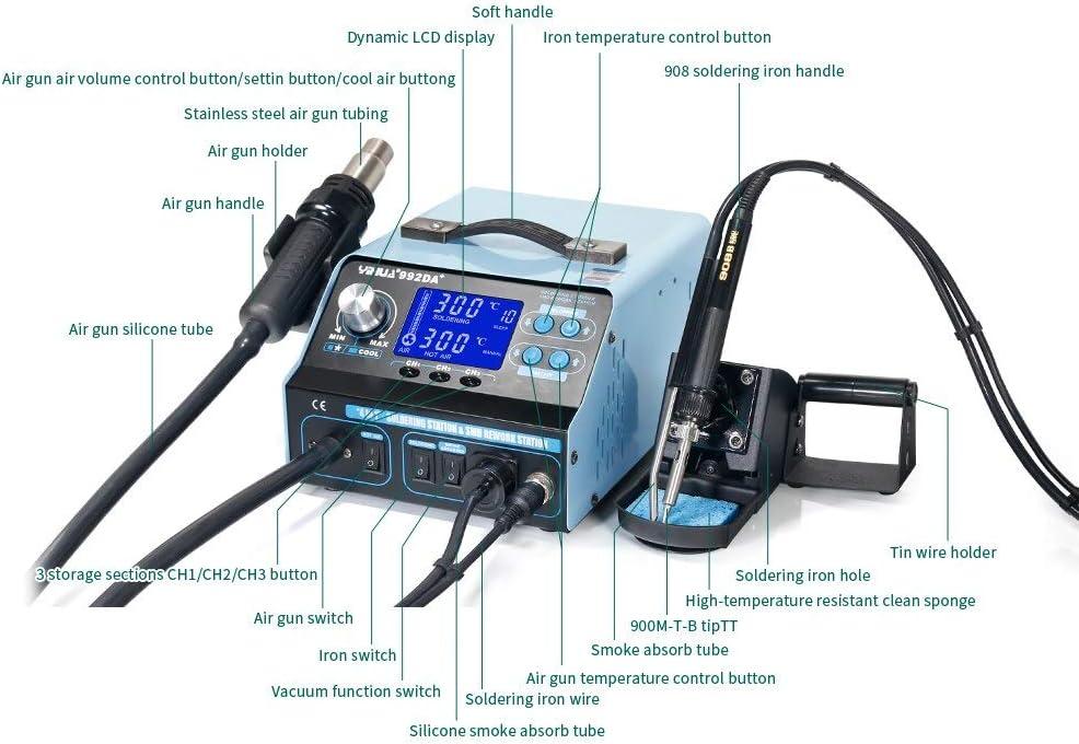3in1 Digital Soldering Iron Station Rework Solder Welder Hot Air Gun 5 Nozzle uk