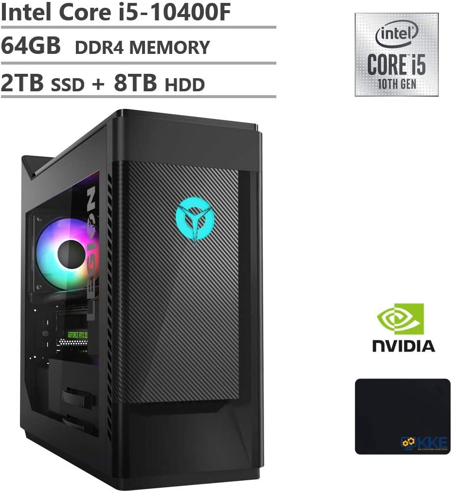 Lenovo Legion Tower 5 Gaming Desktop, 10th Gen Intel Core i5-10400F Processor up to 4.30GHz, GeForce GTX 1650 Super Graphics, 64GB DDR4 RAM, 2TB PCIe SSD + 8TB HDD, Win10 Home,Black, KKE Mousepad