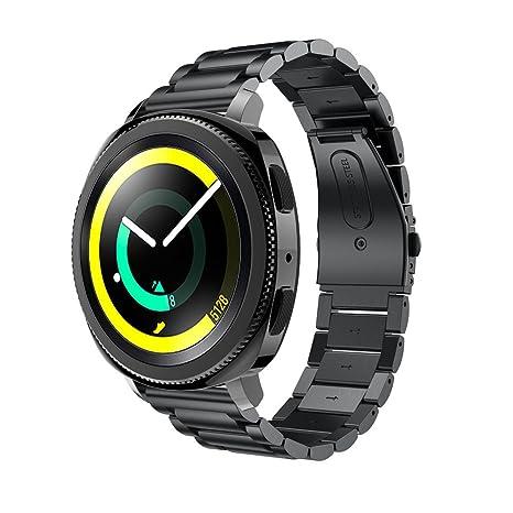 ☀️Modaworld Pulsera de Acero Inoxidable Correa de Reloj Inteligente Banda Muñequera para Samsung Gear Sport Smartwatch (Negro): Amazon.es: Deportes y aire ...