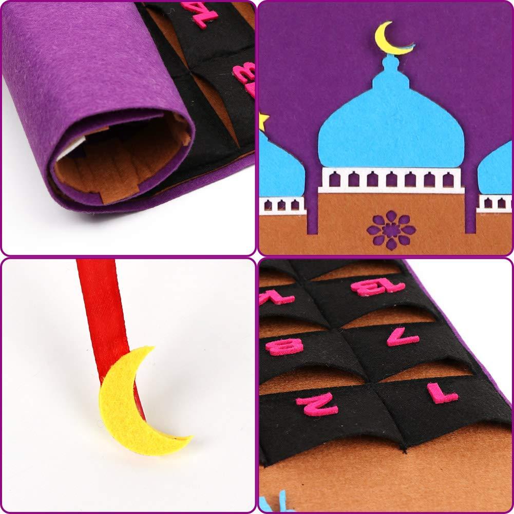 Purple OurWarm Advent Calendar 2020 Ramadan Decorations Ramadan Calendar 30 Days Eid Mubarak Hanging Felt Countdown Calendar for Kids Eid Gifts Ramadan Decorations