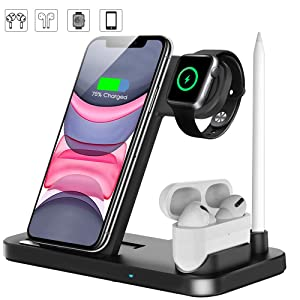 Wireless Charger, QI-EU 4 in 1 Qi-Certified 10W Fast Charger Station Compatible Apple Watch Airpods iPhone 11/11pro/11pro Max/X/XS/XR/Xs Max/8/8 Plus, Wireless Charger Stand Compatible Samsung
