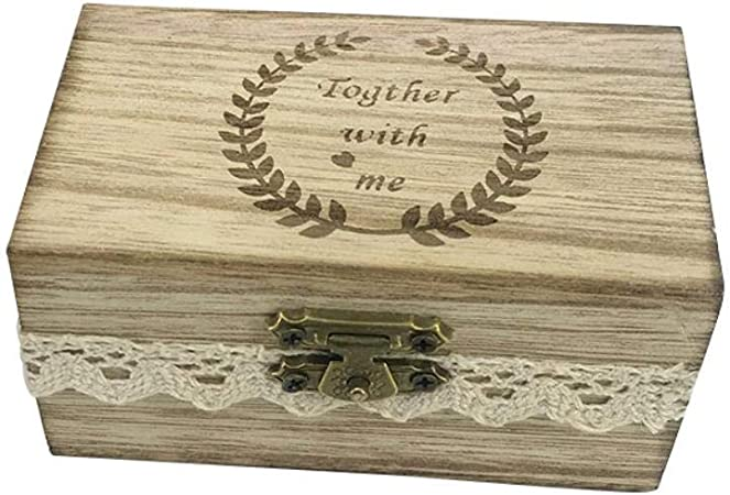Kentop - Caja de Madera para Anillos de Boda, San Valentín, Anillo de Compromiso: Amazon.es: Hogar