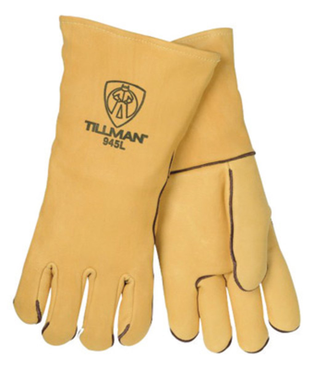 Gold 14 Top Grain Elk Wool Lined Welders Gloves With Straight Thumb, Welted Fingers And Kevlar Stitching (Carded) by John Tillman and Co  B01L0G85XG