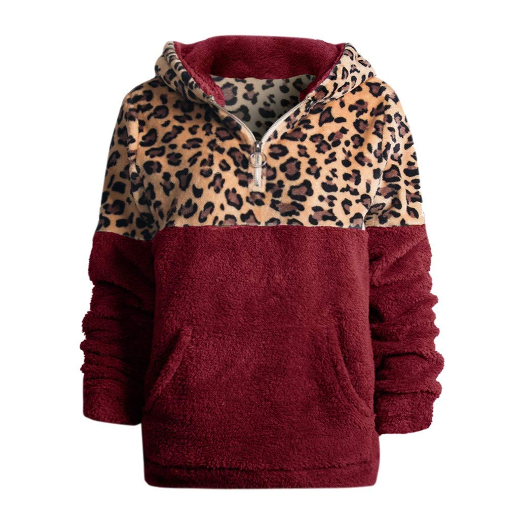 Hoodies for Women Zip Up Graphic Leopard Printed Patchwork Plush Supersoft Autumn Winter Hooded Sweatshirts Red by Letdown_Women Hoodies