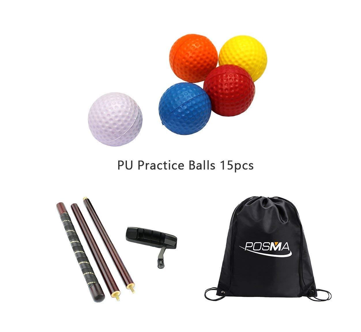 SYMTOP POSMA PB010Fゴルフパタートレーニングパッティングトレーナーバンドルギフトセット付き4セクションパター、15ピースPU練習ボール   B07G52F2DS
