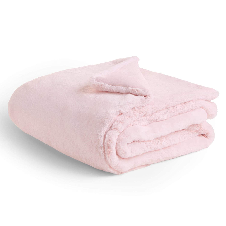 Beautify Manta de Piel Sint/ética Rosa Manta Rosa Suave y Esponjosa para Dormitorio o Sala de Estar