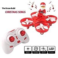 REDPAWZ Niños Mini Drone Sing Canciones Drone Singing Flying Santa Claus 2.4G 4CH 6 Ejes de Juguete sin Cabeza de Juguete RC Quadcopter RTF (Rojo)