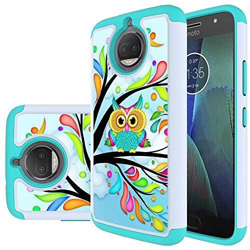 Moto G5S Plus Case, MicroP Hybrid Dual Layer Silicone Plastic Armor Defender Phone Case Cover for Motorola Moto G5S Plus / moto G5s+ (Armor Green Owl)
