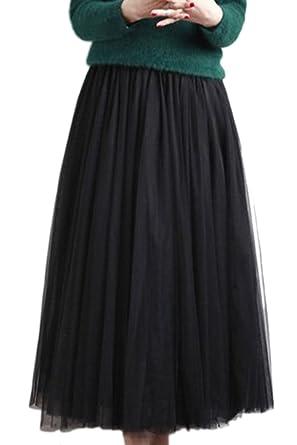 190cccbc49 Yacun Mujeres Tutu De Tul Una Linea De Falda Midi para La Fiesta De Prom  Black One Size  Amazon.es  Ropa y accesorios