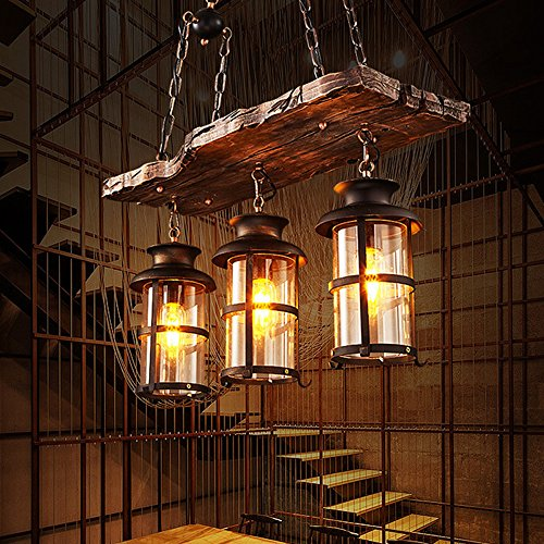 BAYCHEER HL449356 Industrial Woody Wrought Iron 3 Lights Pendant Light Chandelier Hanging Lamp Celling Lights Fixture Metal Cage Frame with Glass Shade for Indoor Bar Warehouse Hallway Use E26 Bulb