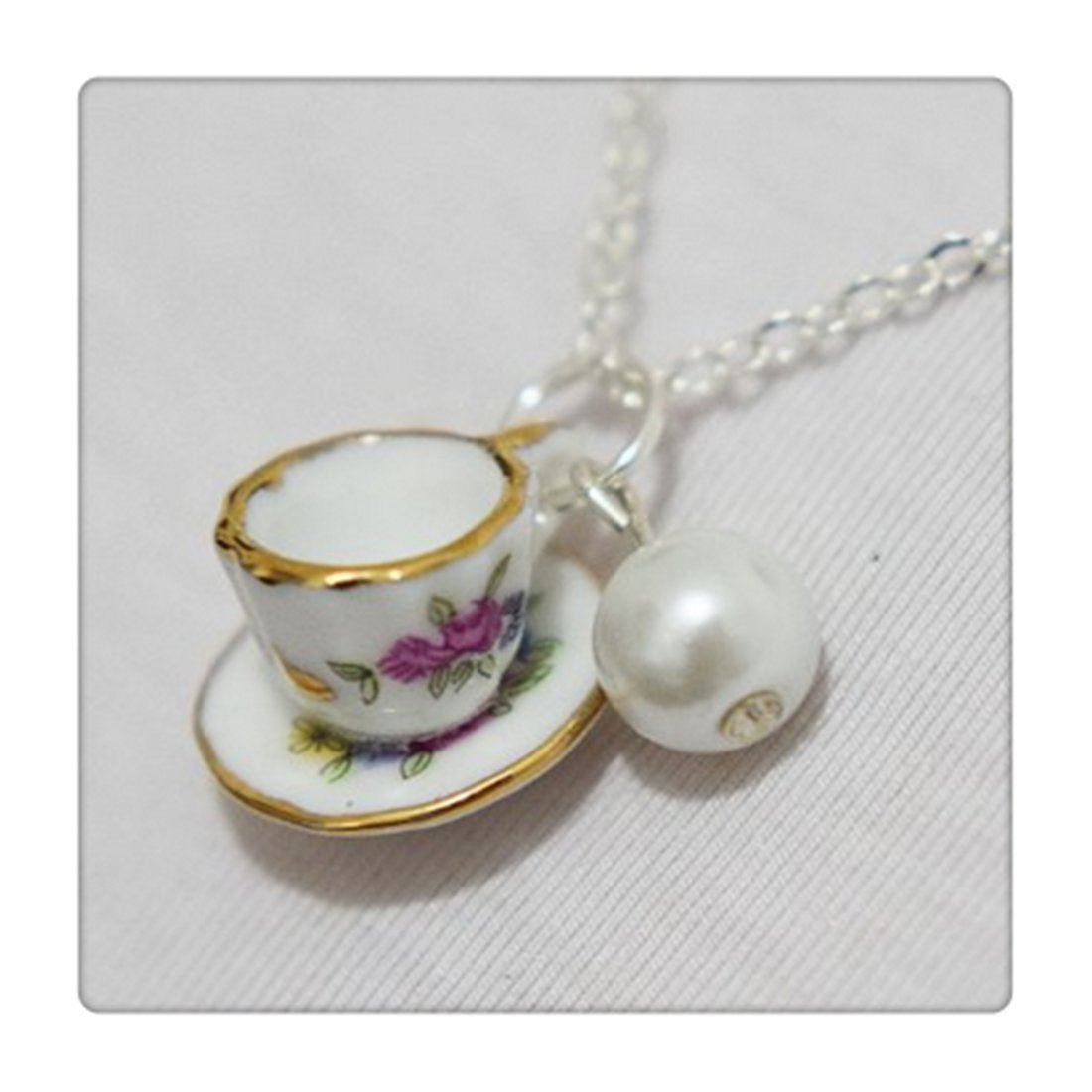 Tea Cup Necklace, Pearl Necklace, Tiny Pink Tea Cup Set, Cooking Party Jewelry, Coffee Cup Necklace, Bridesmaids Jewelry