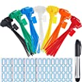 Zhanmai 140 Pieces Zip Ties Nylon Cable Ties Marker Ties, Self-locking Cord Power Making Label Mark Tags, 6 Inches Length, 7 Colors
