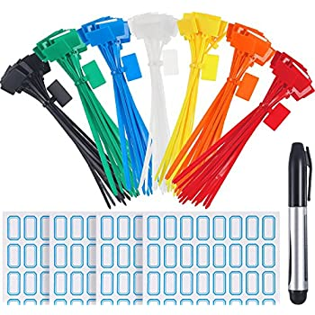 f35717912 Zhanmai 140 Pieces Zip Ties Nylon Cable Ties Marker Ties, Self-Locking Cord  Power Making Label Mark Tags, 7 Colors (140 Pieces, 6 Inch)
