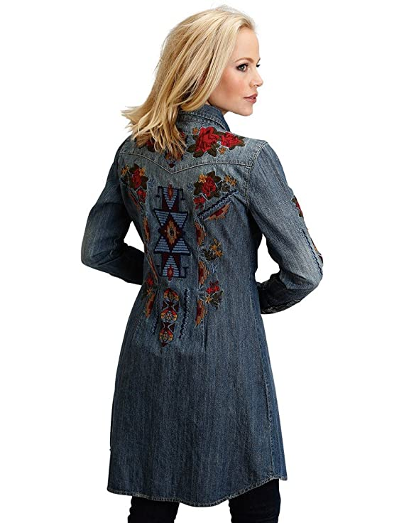 790580b0 Stetson Women's Embroidered Denim Shirt Dress - 11-057-0594-7031 Bu at  Amazon Women's Clothing store:
